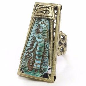 Egyptian Blue Goddess Vintage Glass Ring Adj 6 - 9